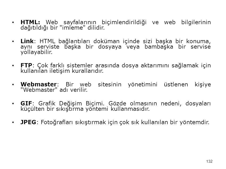 HTML: Web sayfalarının biçimlendirildiği ve web bilgilerinin dağıtıldığı bir imleme dilidir.
