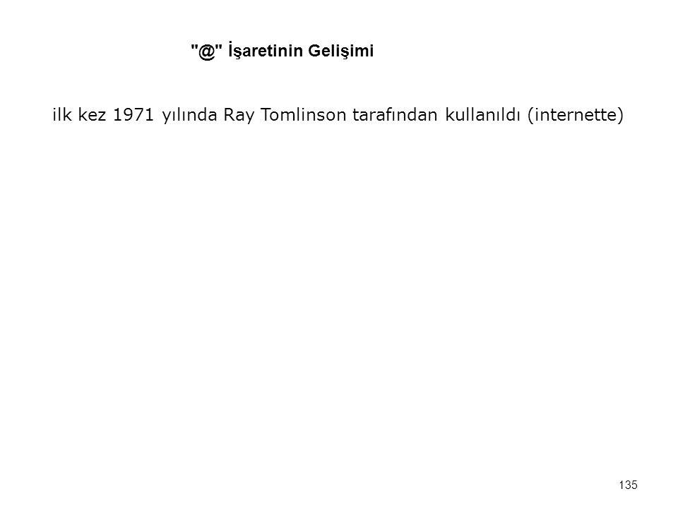 @ İşaretinin Gelişimi ilk kez 1971 yılında Ray Tomlinson tarafından kullanıldı (internette)