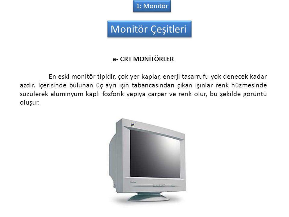 Monitör Çeşitleri 1: Monitör a- CRT MONİTÖRLER