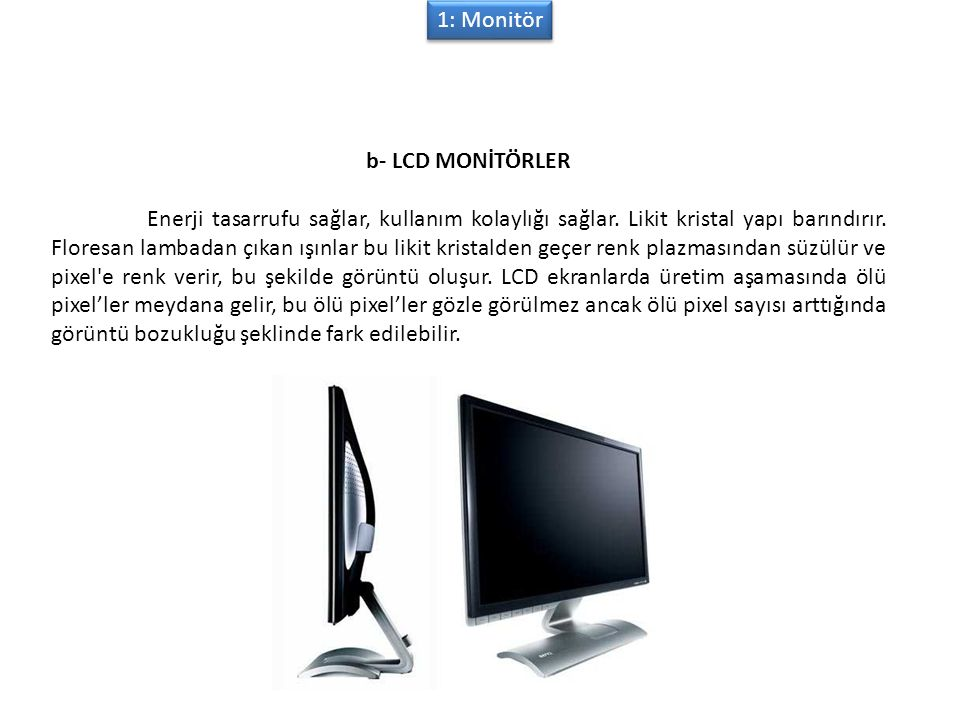 1: Monitör b- LCD MONİTÖRLER.