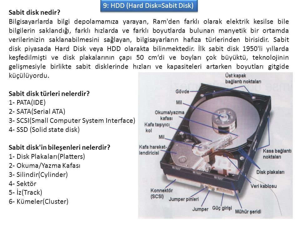 9: HDD (Hard Disk=Sabit Disk)
