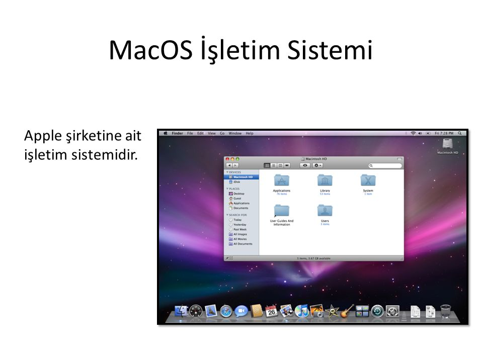 MacOS İşletim Sistemi Apple şirketine ait işletim sistemidir.