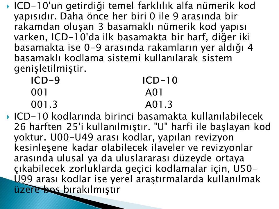 ICD-10 un getirdiği temel farklılık alfa nümerik kod yapısıdır