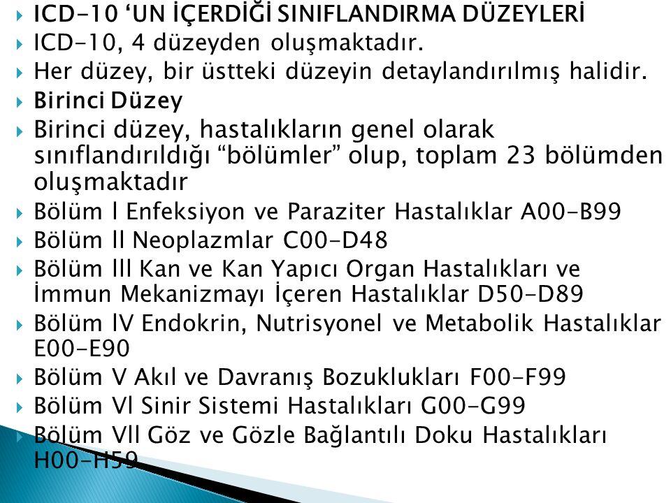 ICD-10 'UN İÇERDİĞİ SINIFLANDIRMA DÜZEYLERİ