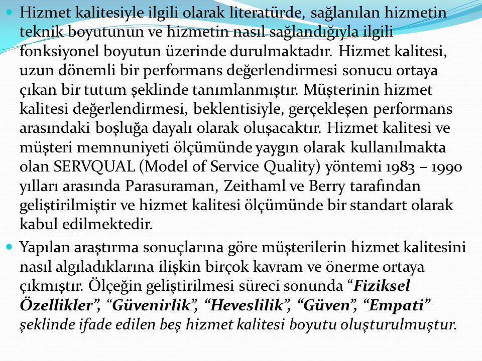 Hizmet kalitesiyle ilgili olarak literatürde, sağlanılan hizmetin teknik boyutunun ve hizmetin nasıl sağlandığıyla ilgili fonksiyonel boyutun üzerinde durulmaktadır. Hizmet kalitesi, uzun dönemli bir performans değerlendirmesi sonucu ortaya çıkan bir tutum şeklinde tanımlanmıştır. Müşterinin hizmet kalitesi değerlendirmesi, beklentisiyle, gerçekleşen performans arasındaki boşluğa dayalı olarak oluşacaktır. Hizmet kalitesi ve müşteri memnuniyeti ölçümünde yaygın olarak kullanılmakta olan SERVQUAL (Model of Service Quality) yöntemi 1983 – 1990 yılları arasında Parasuraman, Zeithaml ve Berry tarafından geliştirilmiştir ve hizmet kalitesi ölçümünde bir standart olarak kabul edilmektedir.