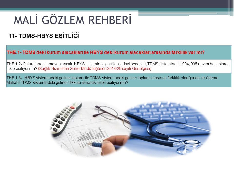 MALİ GÖZLEM REHBERİ 11- TDMS-HBYS EŞİTLİĞİ