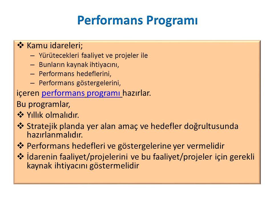 Performans Programı Kamu idareleri;