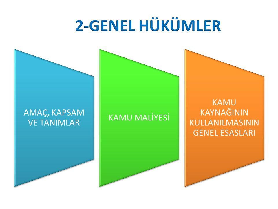 2-GENEL HÜKÜMLER KAMU KAYNAĞININ KULLANILMASININ GENEL ESASLARI