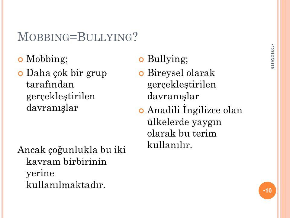 Mobbing=Bullying Mobbing;
