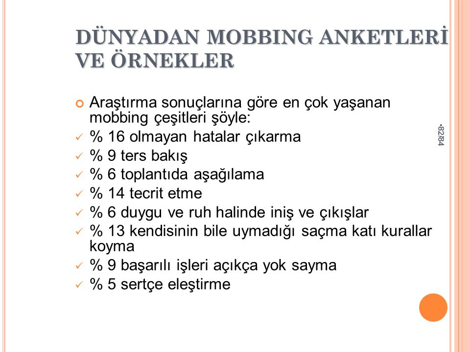 DÜNYADAN MOBBING ANKETLERİ VE ÖRNEKLER