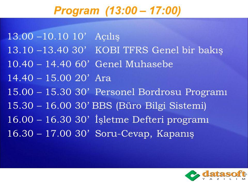 Program (13:00 – 17:00) 13.00 –10.10 10' Açılış