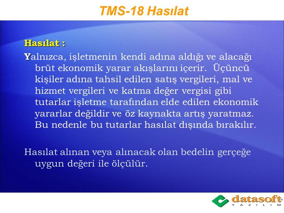 TMS-18 Hasılat Hasılat :