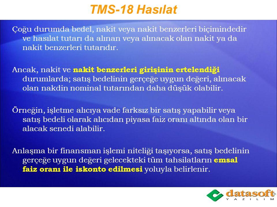TMS-18 Hasılat
