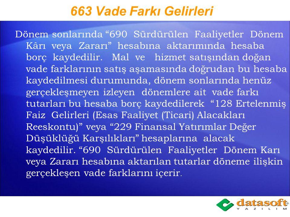 663 Vade Farkı Gelirleri