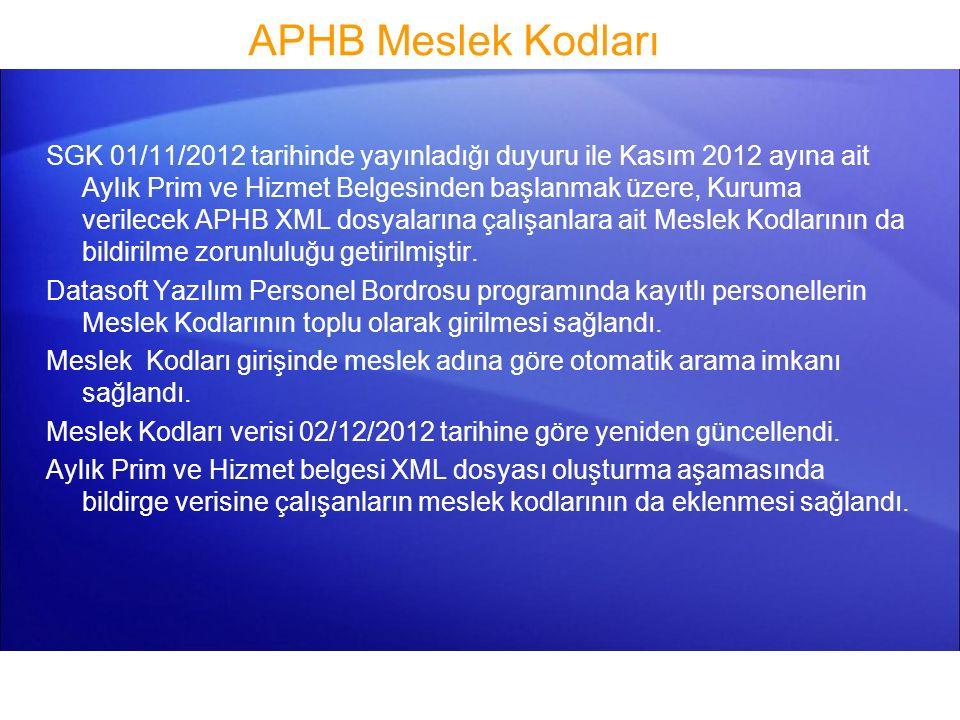APHB Meslek Kodları