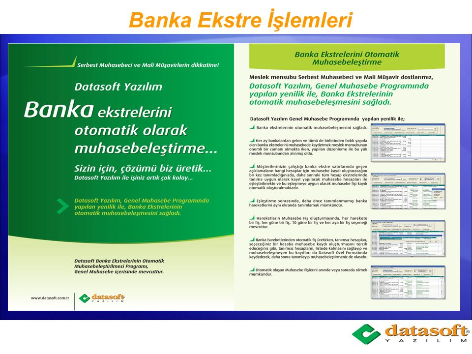 Banka Ekstre İşlemleri