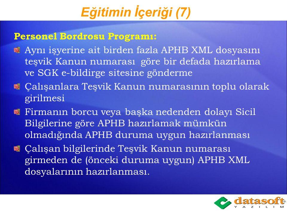 Eğitimin İçeriği (7) Personel Bordrosu Programı: