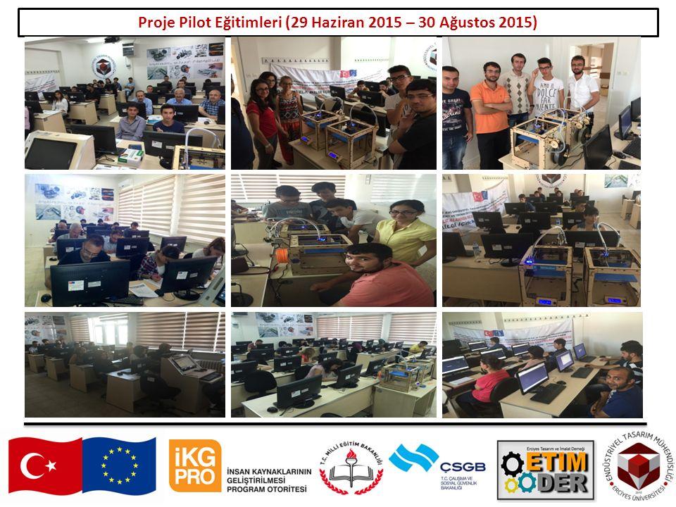 Proje Pilot Eğitimleri (29 Haziran 2015 – 30 Ağustos 2015)