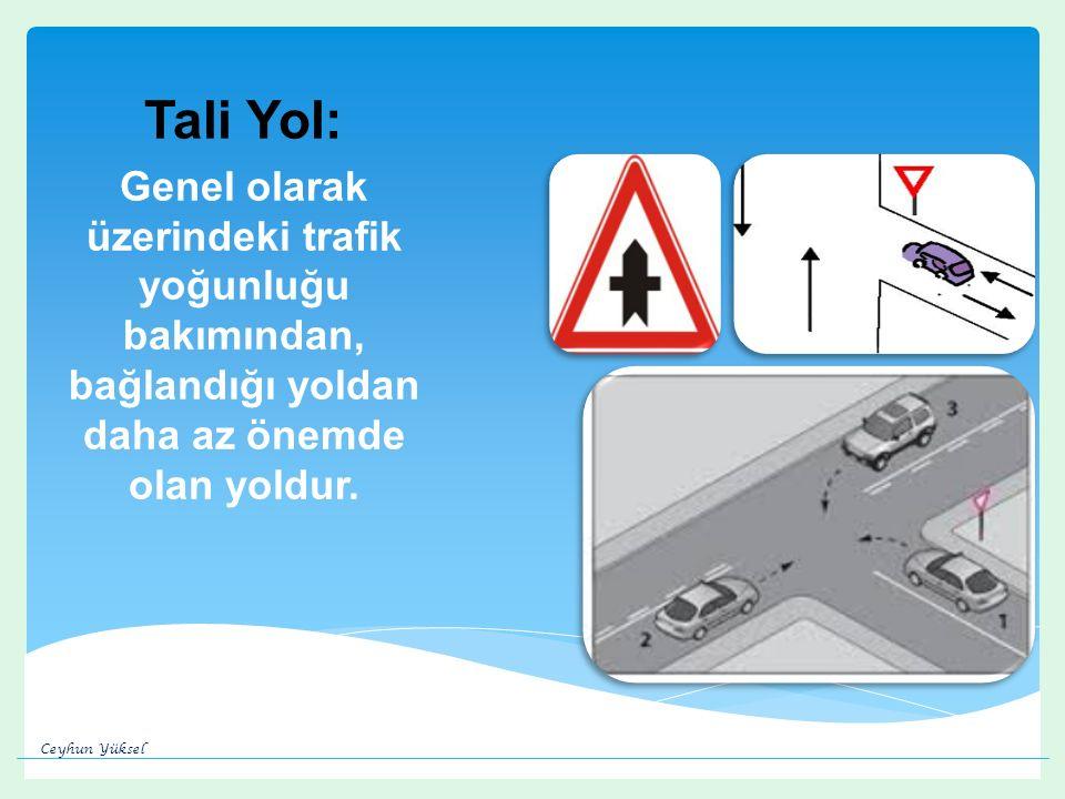 Tali Yol: Genel olarak üzerindeki trafik yoğunluğu bakımından, bağlandığı yoldan daha az önemde olan yoldur.