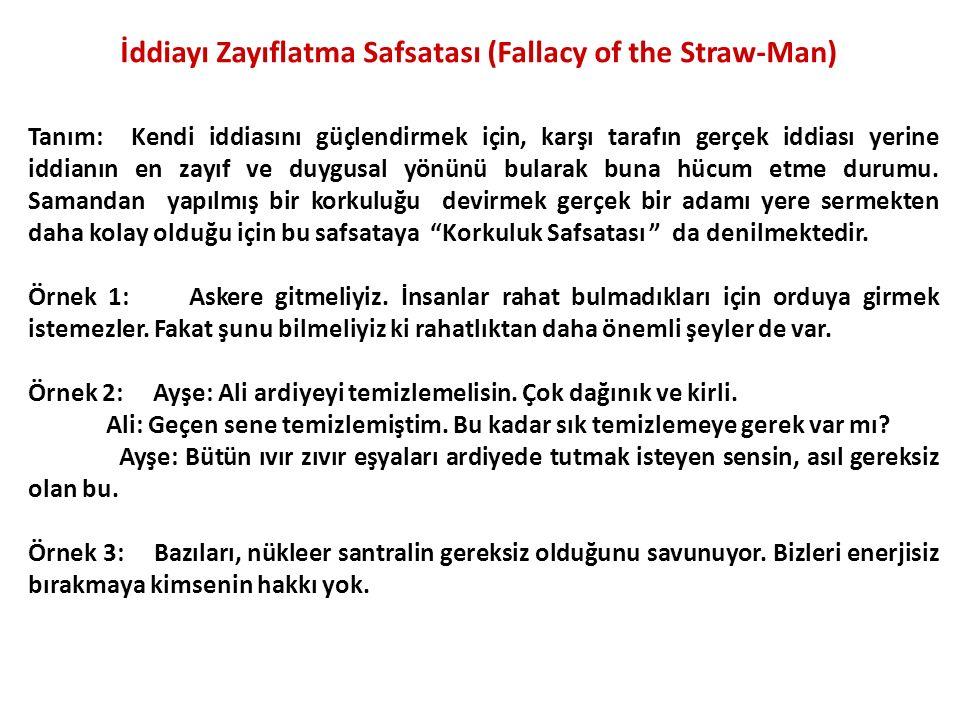 İddiayı Zayıflatma Safsatası (Fallacy of the Straw-Man)