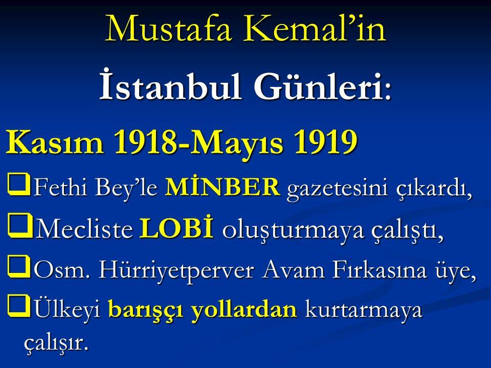 Mustafa Kemal'in İstanbul Günleri: Kasım 1918-Mayıs 1919