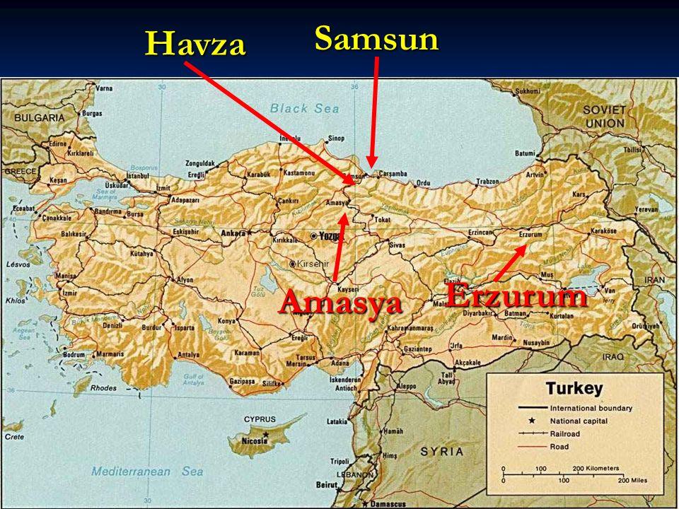 Samsun Havza Erzurum Amasya