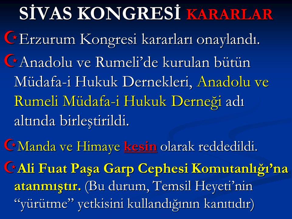 SİVAS KONGRESİ KARARLAR
