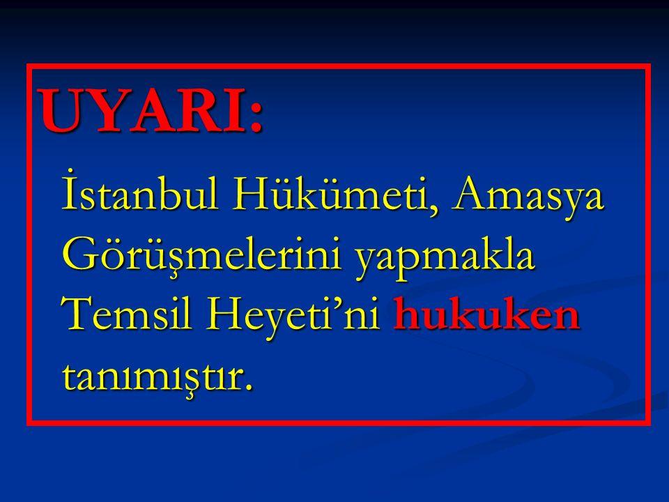 UYARI: İstanbul Hükümeti, Amasya Görüşmelerini yapmakla Temsil Heyeti'ni hukuken tanımıştır.