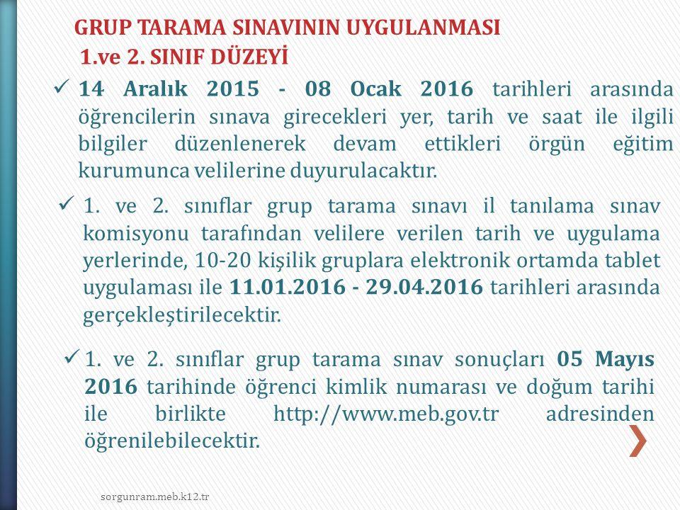 GRUP TARAMA SINAVININ UYGULANMASI 1.ve 2. SINIF DÜZEYİ