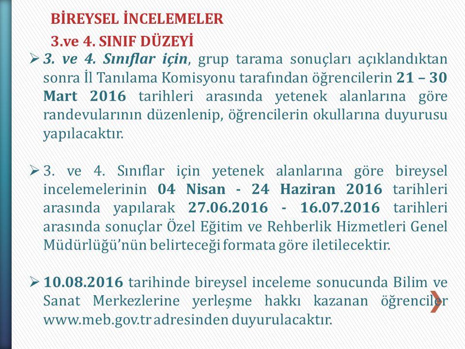 BİREYSEL İNCELEMELER 3.ve 4. SINIF DÜZEYİ.