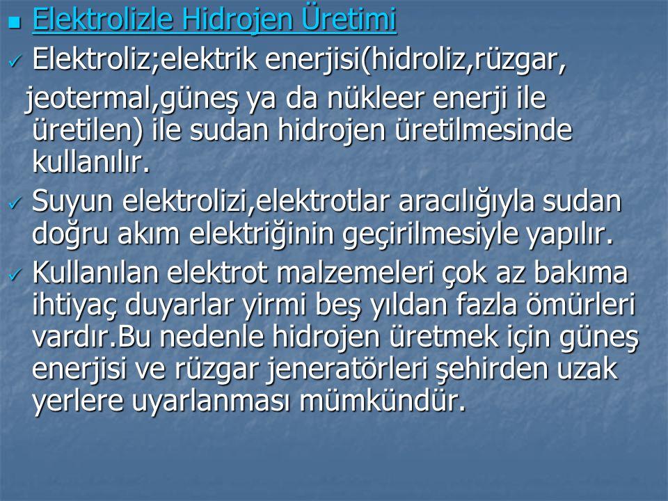 Elektrolizle Hidrojen Üretimi