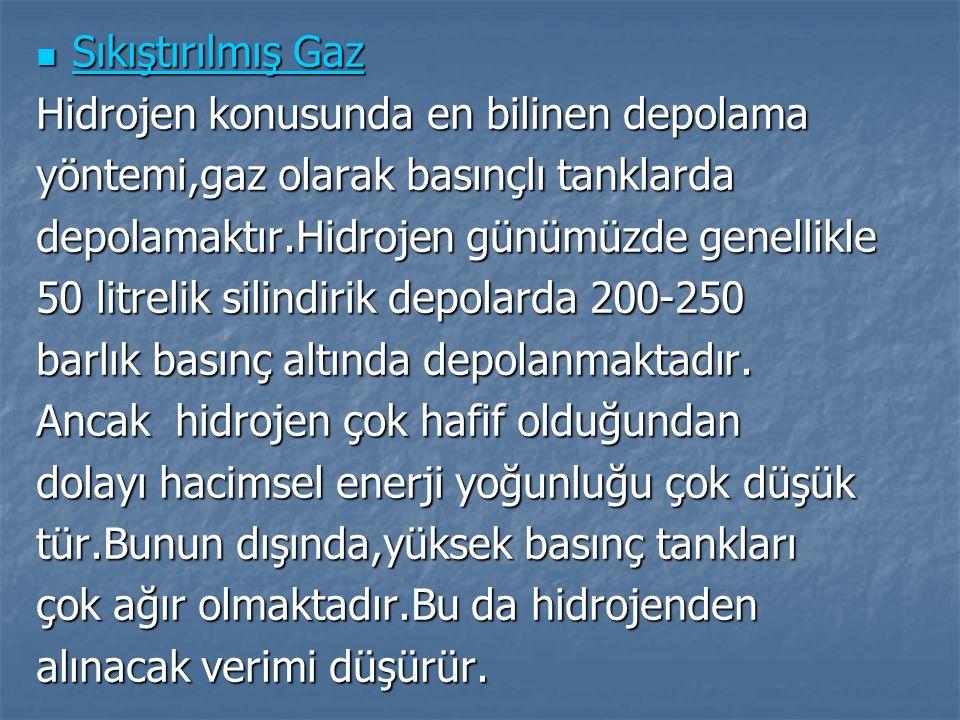 Sıkıştırılmış Gaz Hidrojen konusunda en bilinen depolama. yöntemi,gaz olarak basınçlı tanklarda. depolamaktır.Hidrojen günümüzde genellikle.