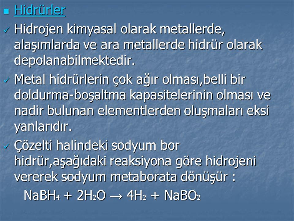 Hidrürler Hidrojen kimyasal olarak metallerde, alaşımlarda ve ara metallerde hidrür olarak depolanabilmektedir.