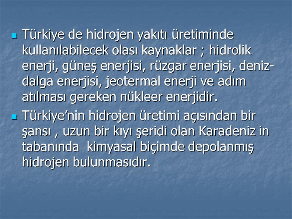 Türkiye de hidrojen yakıtı üretiminde kullanılabilecek olası kaynaklar ; hidrolik enerji, güneş enerjisi, rüzgar enerjisi, deniz- dalga enerjisi, jeotermal enerji ve adım atılması gereken nükleer enerjidir.