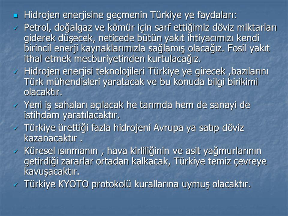 Hidrojen enerjisine geçmenin Türkiye ye faydaları: