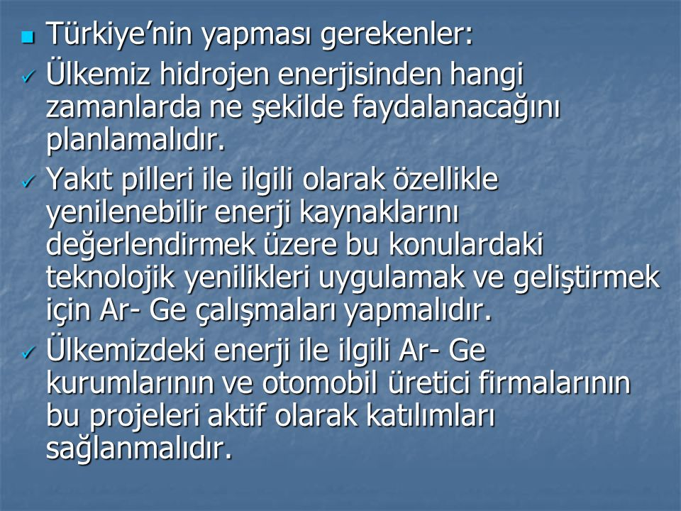 Türkiye'nin yapması gerekenler: