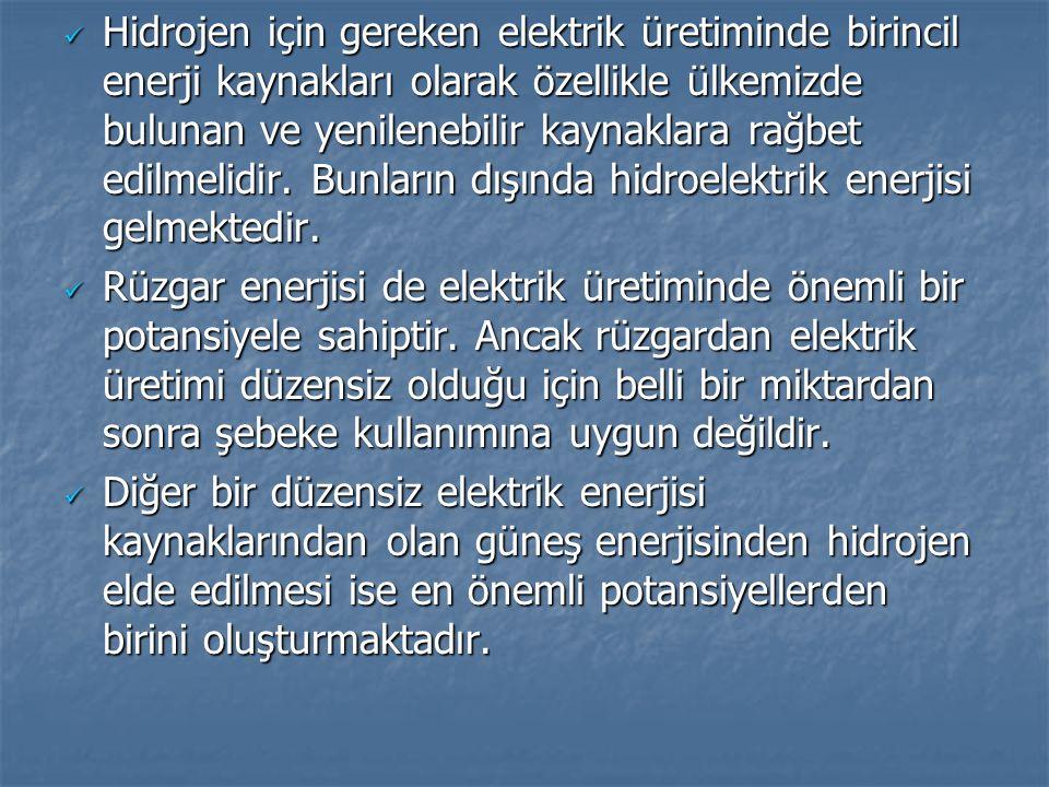 Hidrojen için gereken elektrik üretiminde birincil enerji kaynakları olarak özellikle ülkemizde bulunan ve yenilenebilir kaynaklara rağbet edilmelidir. Bunların dışında hidroelektrik enerjisi gelmektedir.