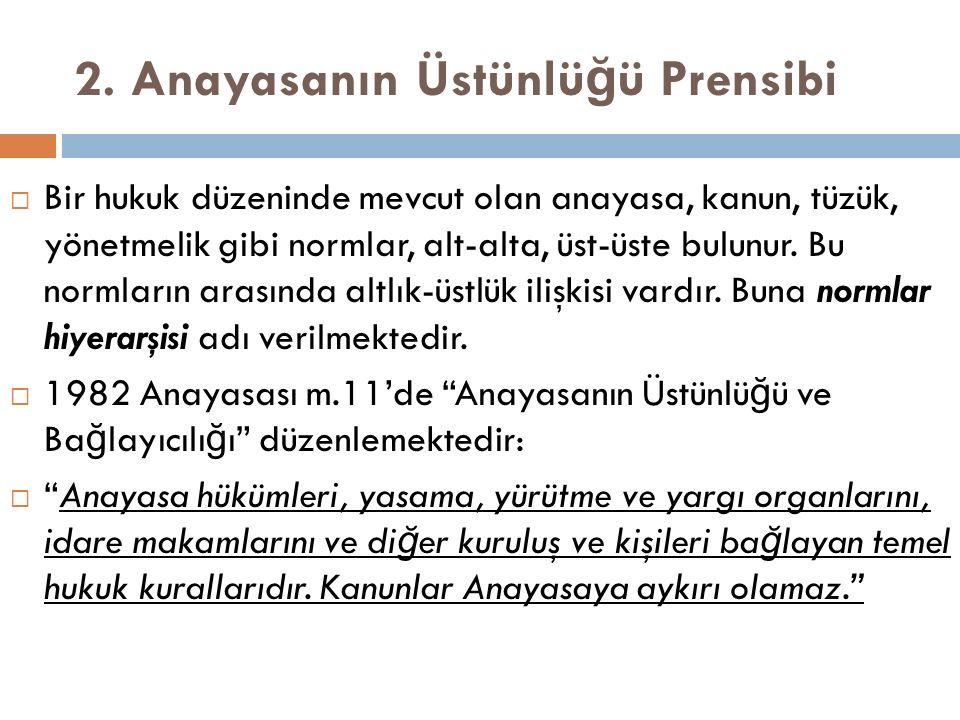 2. Anayasanın Üstünlüğü Prensibi
