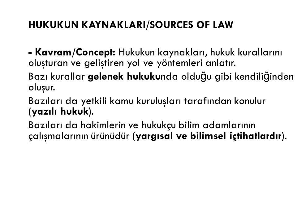 HUKUKUN KAYNAKLARI/SOURCES OF LAW - Kavram/Concept: Hukukun kaynakları, hukuk kurallarını oluşturan ve geliştiren yol ve yöntemleri anlatır.