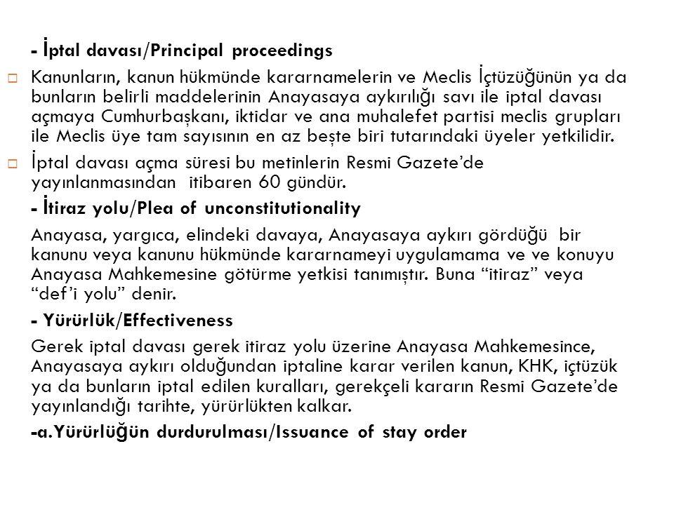 - İptal davası/Principal proceedings
