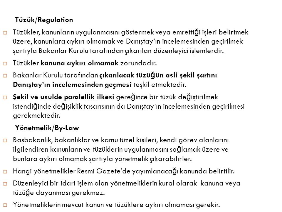 Tüzük/Regulation