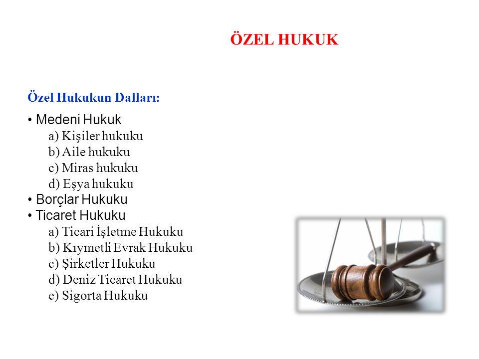 ÖZEL HUKUK Özel Hukukun Dalları: • Medeni Hukuk a) Kişiler hukuku