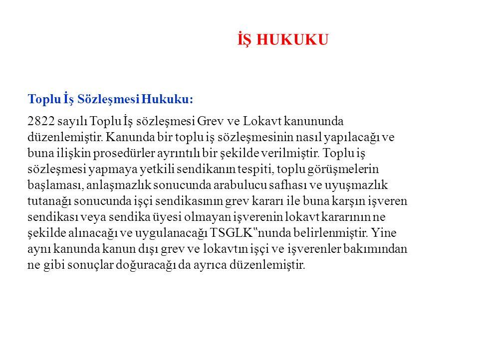 İŞ HUKUKU Toplu İş Sözleşmesi Hukuku: