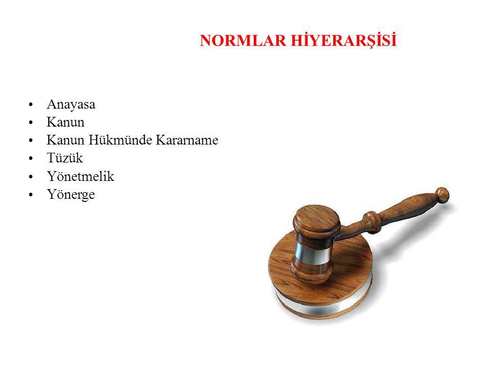 NORMLAR HİYERARŞİSİ • Anayasa • Kanun • Kanun Hükmünde Kararname •