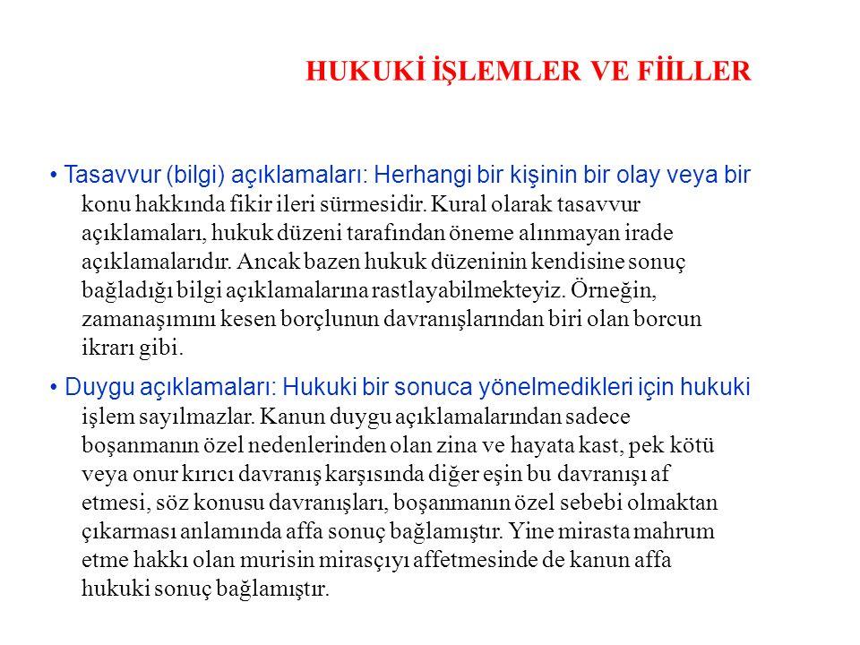 HUKUKİ İŞLEMLER VE FİİLLER