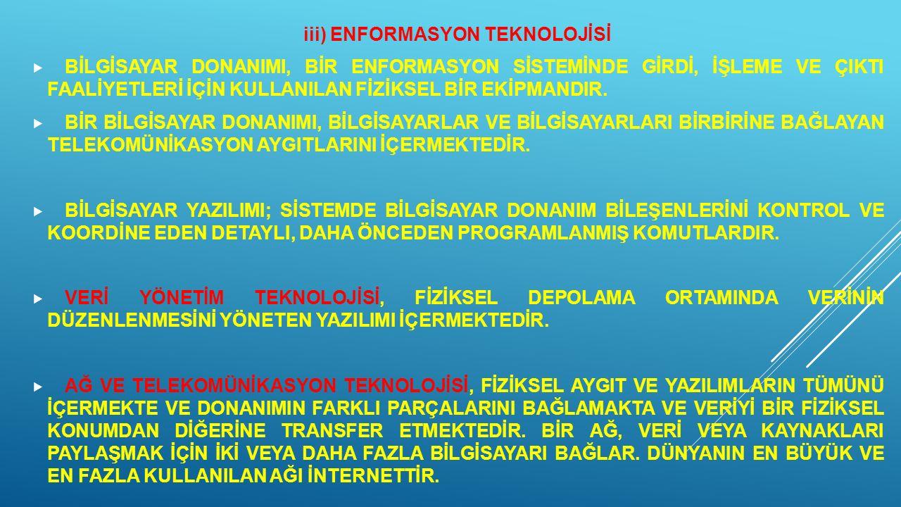 iii) ENFORMASYON TEKNOLOJİSİ