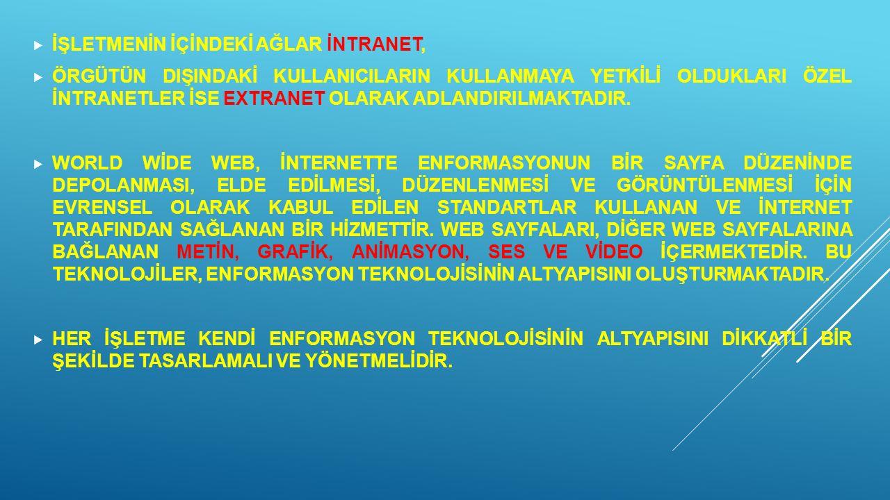 İŞLETMENİN İÇİNDEKİ AĞLAR İNTRANET,