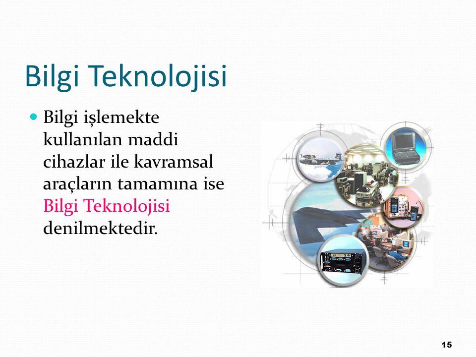 Bilgi Teknolojisi Bilgi işlemekte kullanılan maddi cihazlar ile kavramsal araçların tamamına ise Bilgi Teknolojisi denilmektedir.