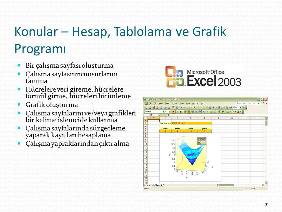 Konular – Hesap, Tablolama ve Grafik Programı