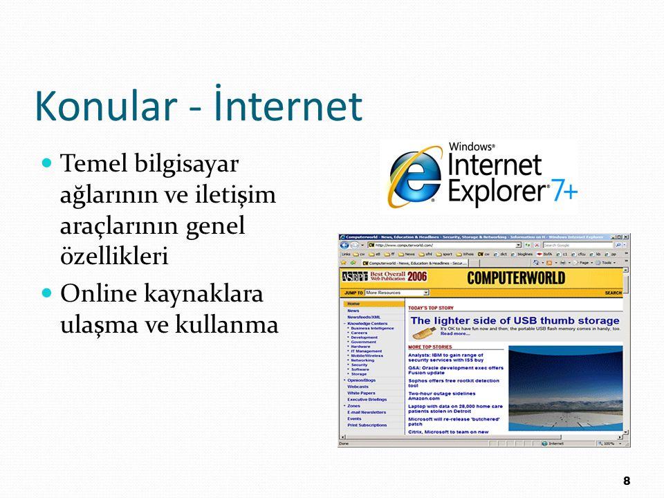 Konular - İnternet Temel bilgisayar ağlarının ve iletişim araçlarının genel özellikleri.